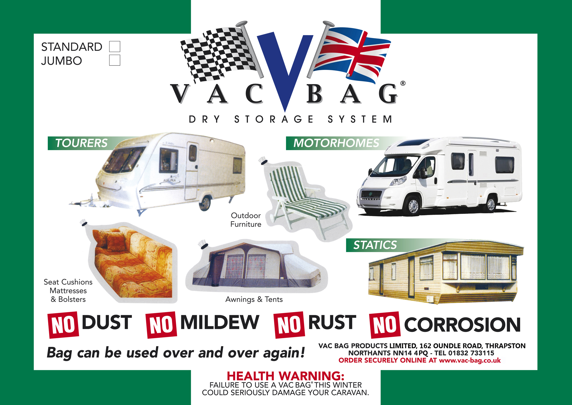 Caravan & Camping Vac Bag® Jumbo - Size 3 65m x 2 4m (12ft x