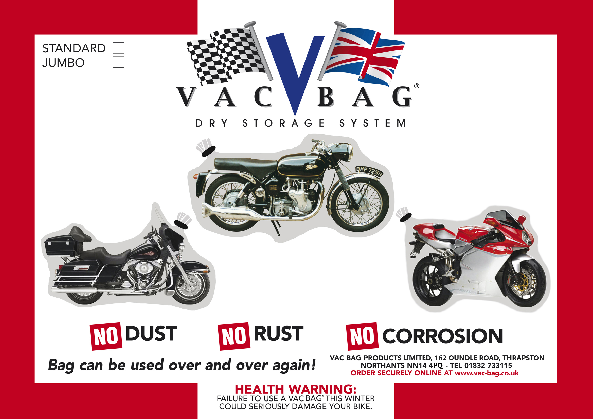 Motorcycle Bike Dry Storage Vacuum System 3.65 x 2.4m Jumbo Vac-Bag Vac Bag